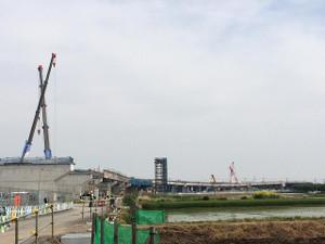 圏央道、五霞IC付近の工事風景、県道268号から南方向
