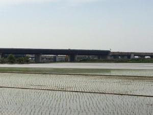 圏央道、五霞IC付近の工事風景、県道268号から西方向