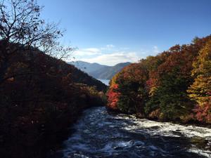 竜頭ノ滝 上流から中禅寺湖を望む